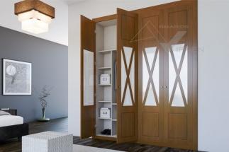 Puerta abatible barnizada con aspas