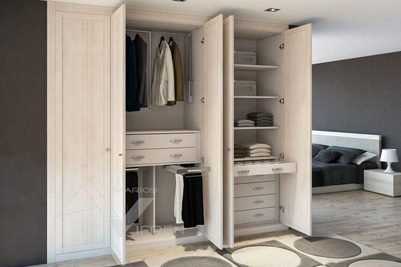 Armarios de puertas abatibles lacadas en blanco y espejo for Armarios puertas abatibles