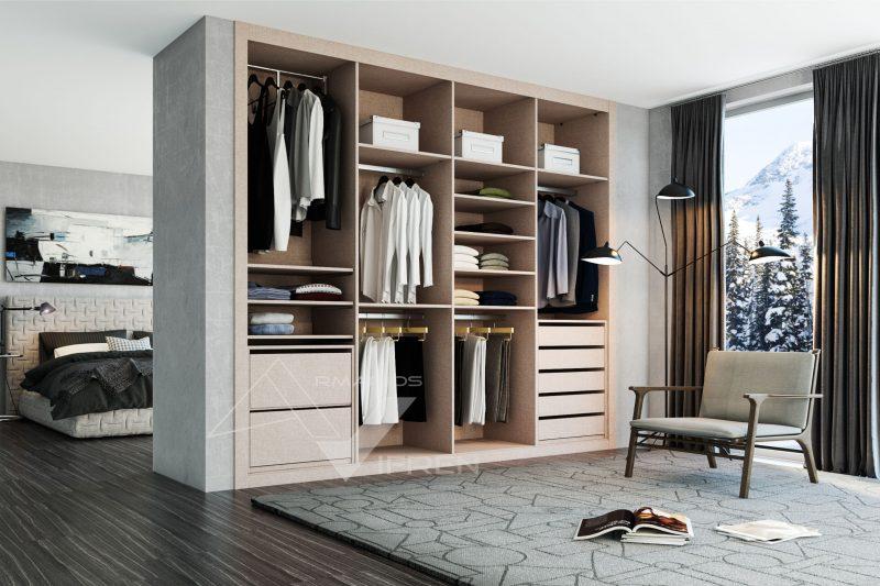 Interior de armario a medida en lino tostado