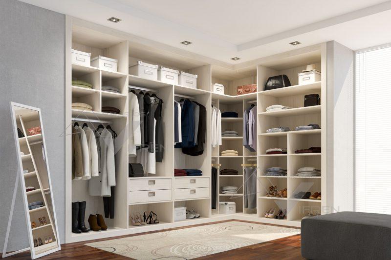 Vestidor a medida de esquina con espejo vestidores for Distribucion de armarios empotrados por dentro