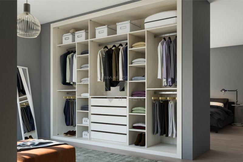 Interior de armario a medida en blanco ceniza