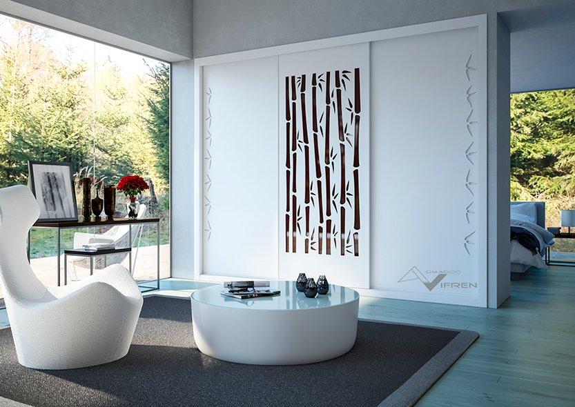 3 puertas lacada blanco y pantografiado bambú
