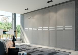 Armario puertas abatibles a medida lino gris