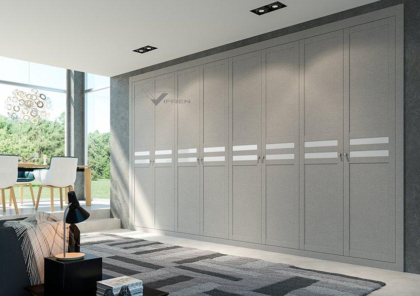 Armarios de puertas abatibles lacadas en blanco y espejo - Armarios con puertas abatibles ...