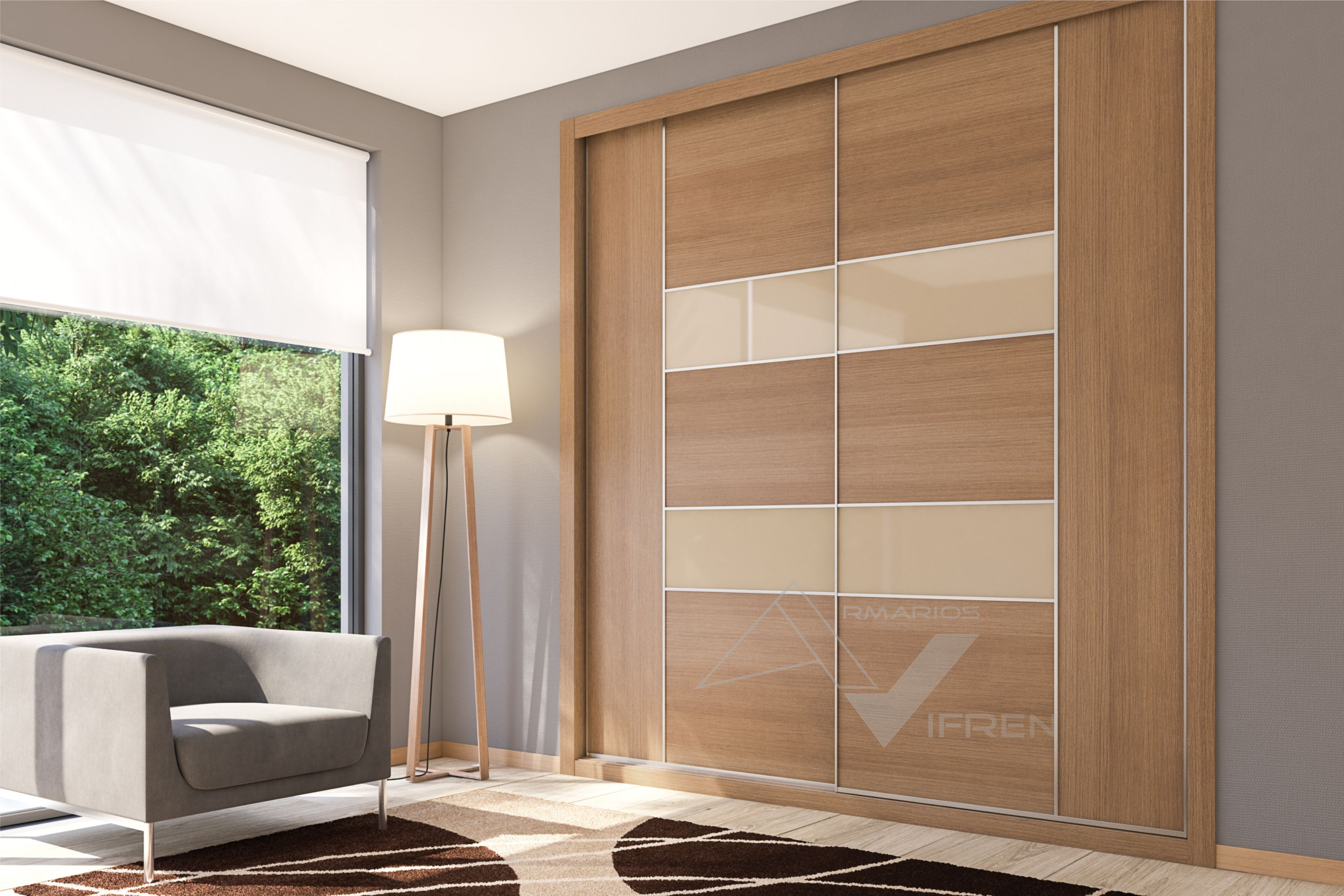 Armario corredera 2 puertas melamina nogal pacífico y vidrio beige