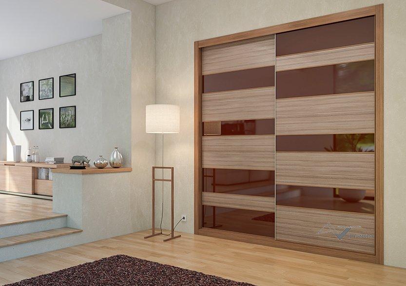 2 puertas correderas en Segovia vidrio chocolate y melamina
