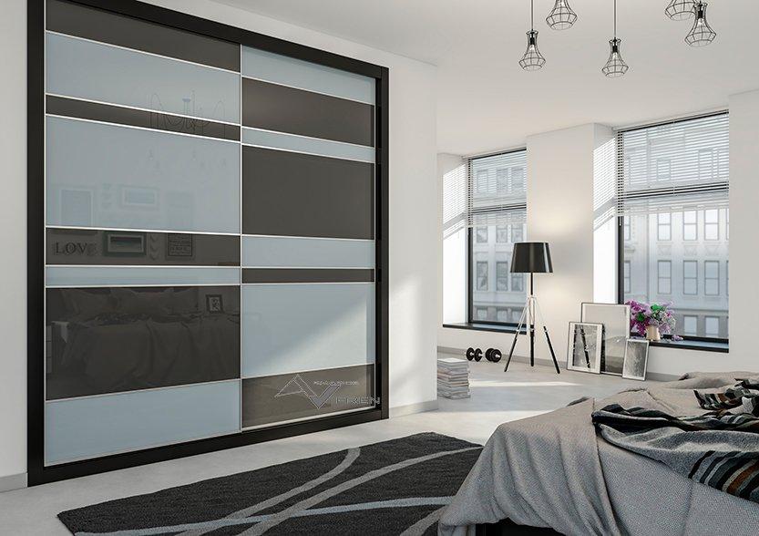 Puertas sistema vifrens combinada de vidrio blanco y vidrio gris