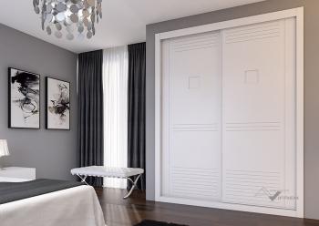 Puerta lacada blanca pantografiada