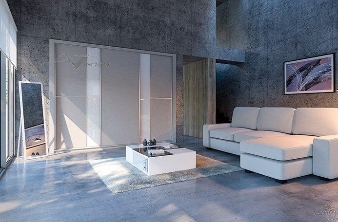 Puertas correderas en lino gris y vidrio blanco