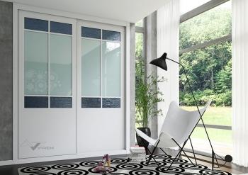 Puertas deslizantes vidrio Ikura gris nacar y laca blanca