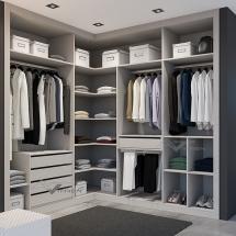 Vestidor esquina melamina lino gris con cajones y pantalonero