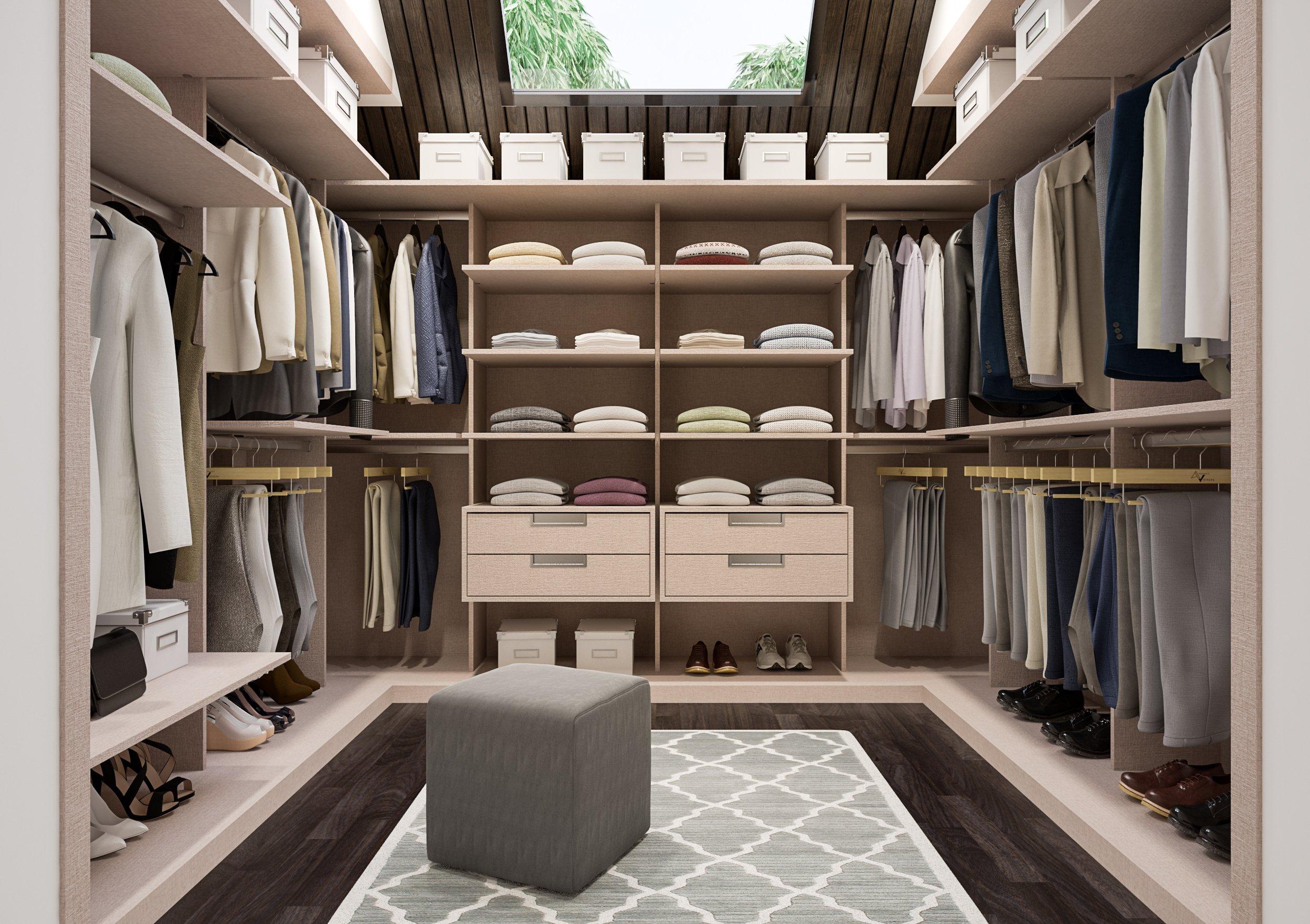 Vestidor de armario en U abierto moderno